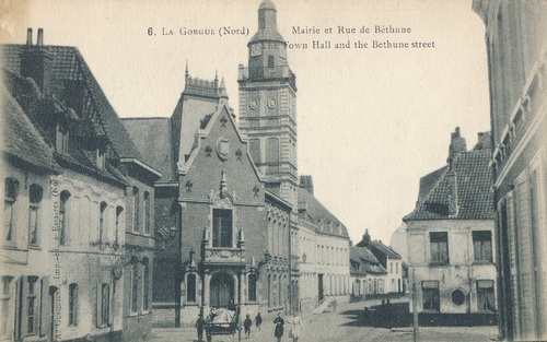 La Gorgue. Nord. Mairie et Rue de Bethune