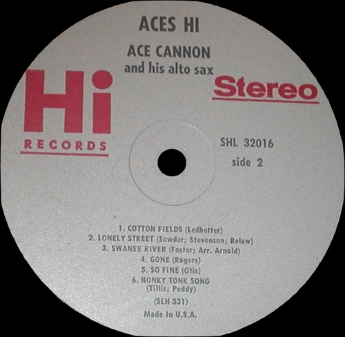 "Ace Cannon : Album "" Aces Hi "" Hi Records SHL 32016 [ US ]"