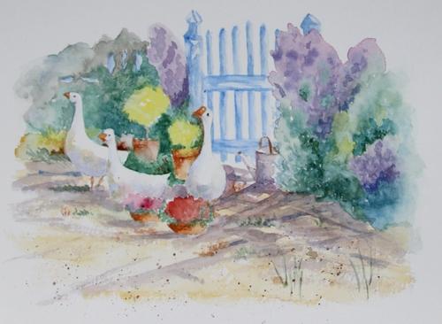 Les oies à la porte du jardin