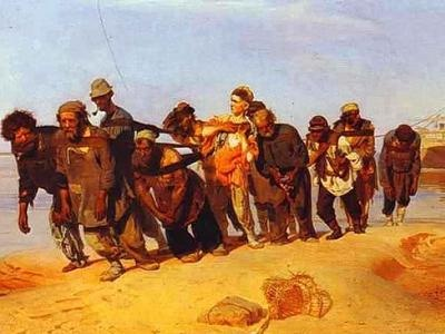"Russian painting of the ""Burlaki"", or barge-pullers, by Ilya Repin from 1870-73."