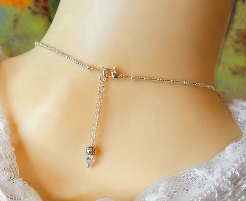 Collier pendentif Perles de Verre nacré blanc crème et Cristal de Swarovski / Argent 925
