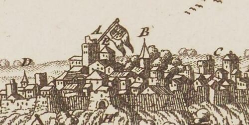 Boulogne, vue. E - beffroi (détail) - Cartes, plans et vues de la Picardie et pays voisins, XVIIIe s. (gallica)