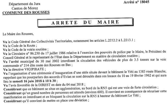 """16 juin 2018 : Inauguration d'une stèle commémorative """"au Yéti"""" aux Rousses débouchant sur la date de paix du 19 Mars 1962"""