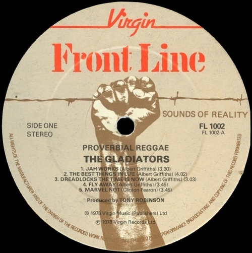 "The Gladiators : Album "" Proverbial Reggae "" Virgin Front Line Records FL 1002 [ UK ]"