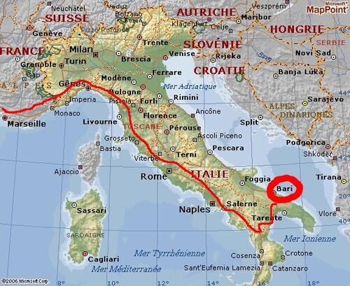 Au revoir la Grèce.  Bonjour l'Italie