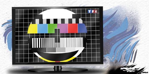 dessin de JERC du mercredi 7 mars 2018 caricature accès à la chaine TF1 coupé le Qi moyen des français a gagné déjà 2 pts. www.facebook.com/jercdessin @dessingraffjerc