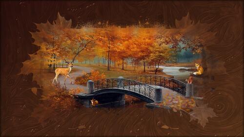fond automne animaux