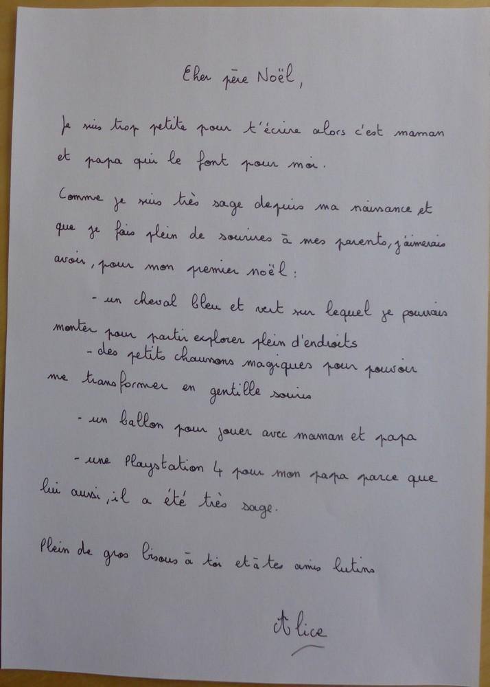 La lettre au Papa Noël d'Alice et son papa...