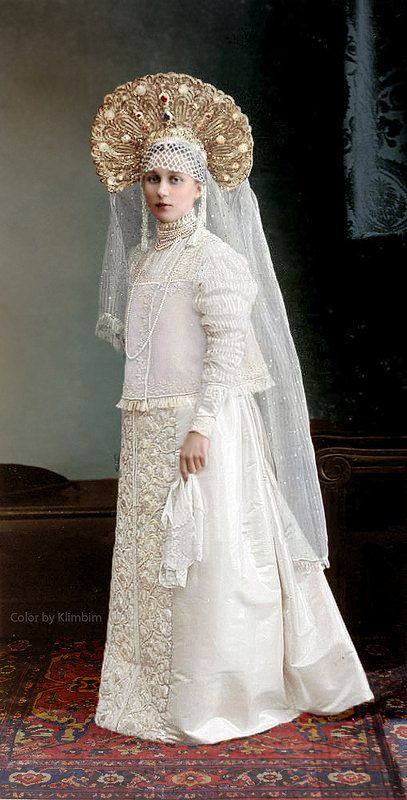 1903 Romanov Dynasty Anniversary Costume Ball in the Winter Palace, St. Petersburg , Russia. Fancy dress in the Russian traditional fashion of the 17th c.: