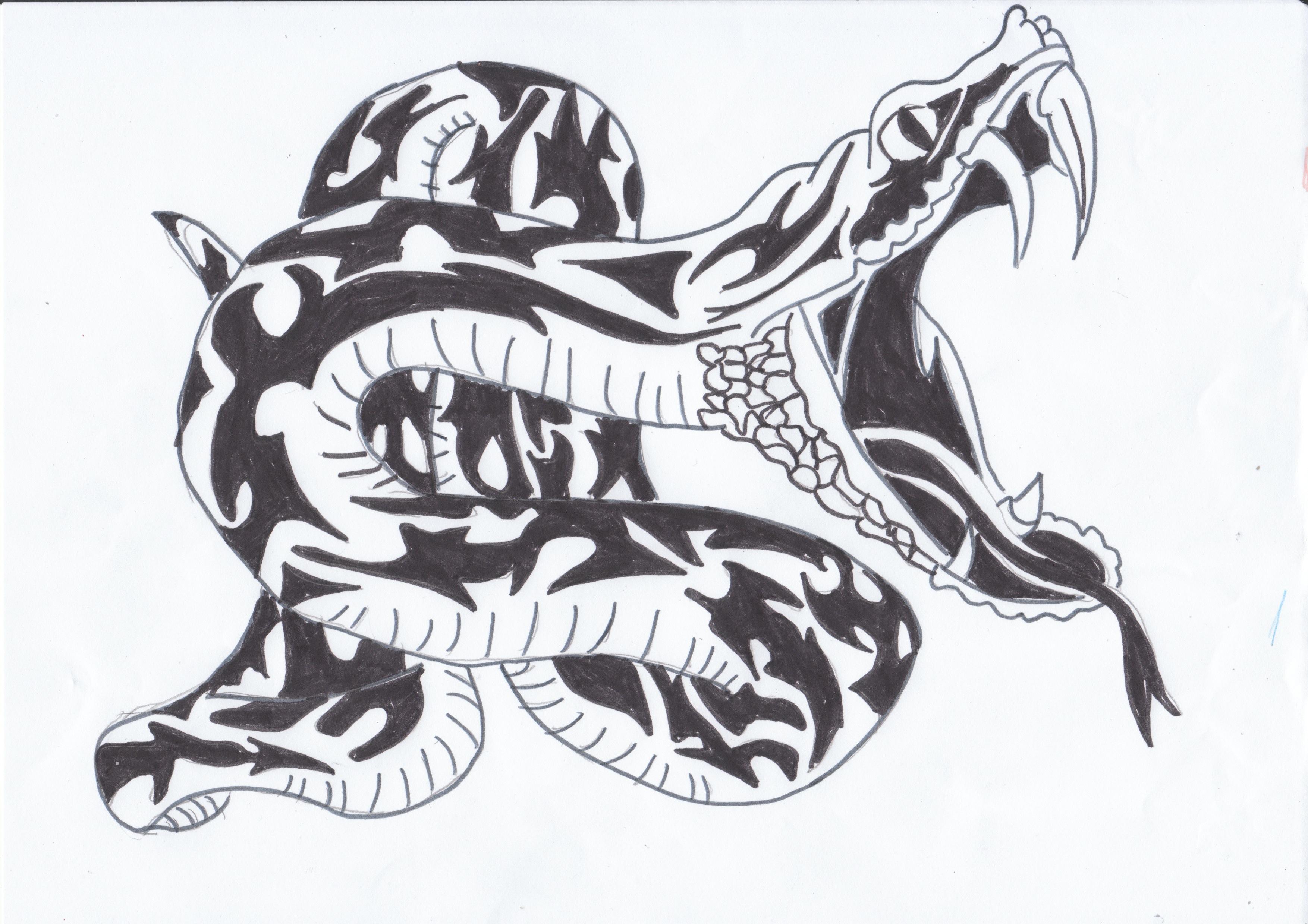 Serpent tribal watashi no sekai wa sono tobira o hirakimasu - Dessin tribal facile ...
