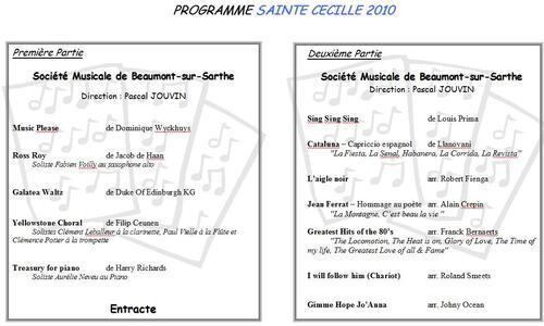 Programme Concert Sainte Cécile 2010