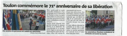 * TOULON a commémoré sa Libération