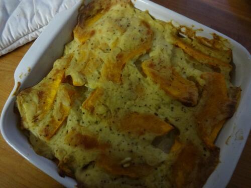 Gratin de Pomme de Terre et Courge Delica-Moretti à la Moutarde