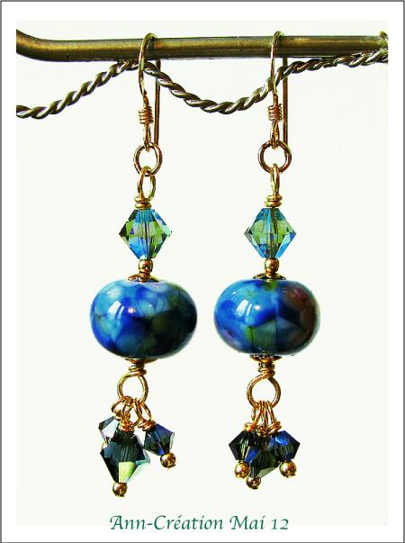 Boucles d'Oreilles Bleues, Perles d'Artiste Verre Lampwork, Cristal / Plaqué Or GF
