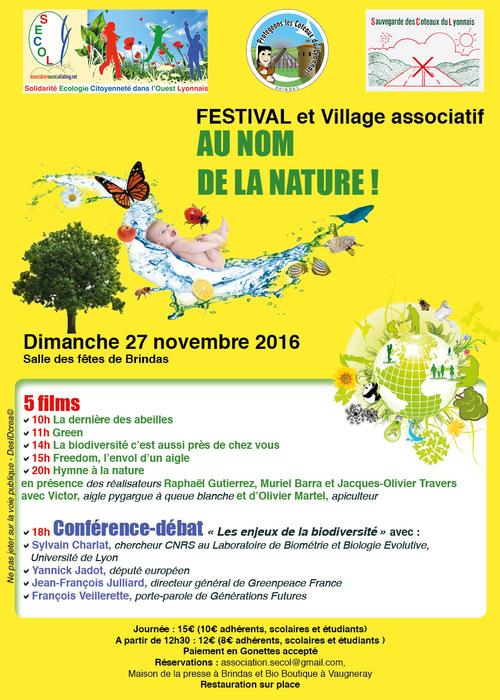 """FESTIVAL """"AU NOM DE LA NATURE!"""" 27 novembre 2016 à Brindas"""