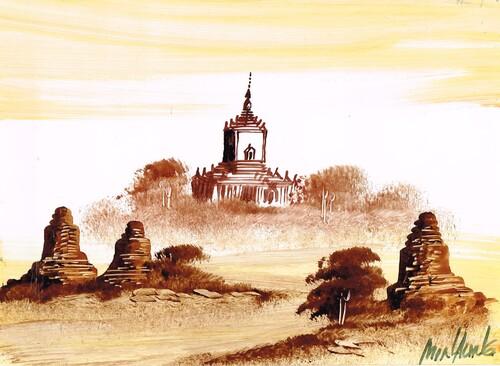 Peinture à la lame de rasoir (Mandalay. Birmanie)