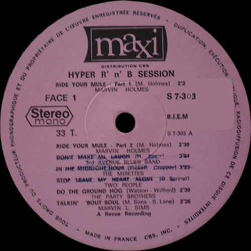 "Série "" Hyper Session Rhythm & Blues Vol 1 "" Maxi  Records S 7-303 [ FR ]1969"