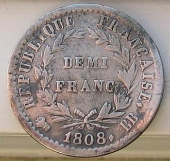 demi franc napo argent 1808 revers