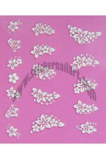 Stickers d'ongles mêlée fleurs blanches et strass