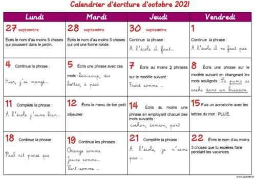 Calendriers d'écriture 2021 2022 - CE1
