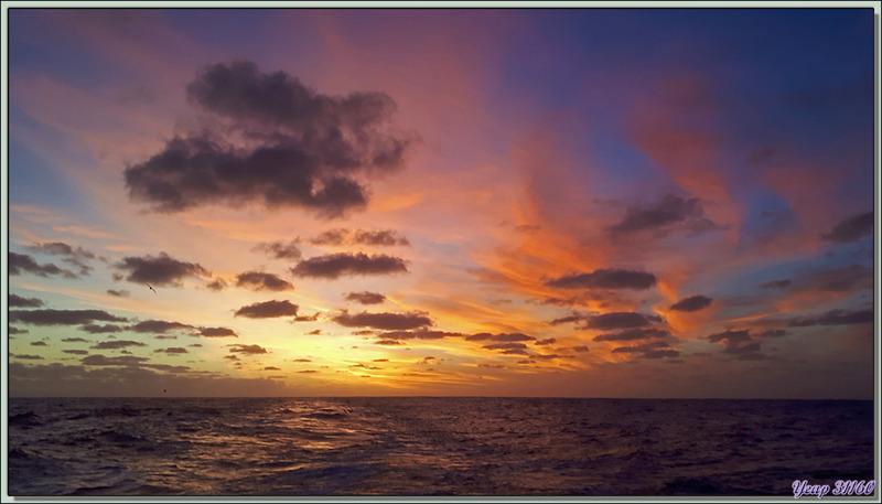 Atlantique Sud entre Tristan da Cunha et Le Cap : Superbe coucher de soleil capturé au Smartphone
