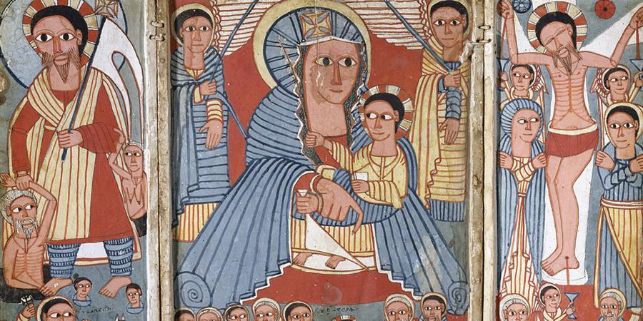 Crédit d'image: La Vierge et l'enfant avec des archanges, des scènes de la vie du Christ et des saints (détail), début du 17e siècle (Early Gondarine), Tigray Kifle Håger, Ethiopie, The Walters Art Museum, Baltimore, Maryland.