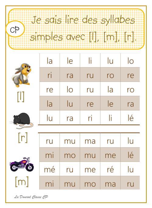 Lire des syllabes simples