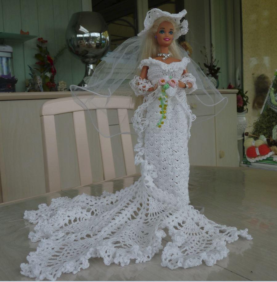 Barbie en robe de mari e au crochet cascade pipiouland - Barbie mariee ...