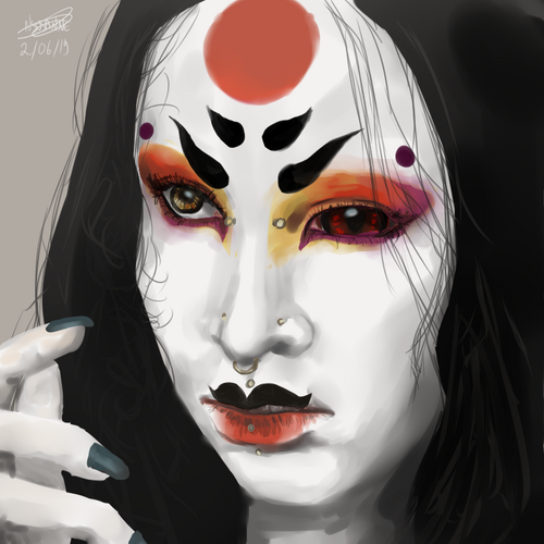 Make up look alike geisha drawing