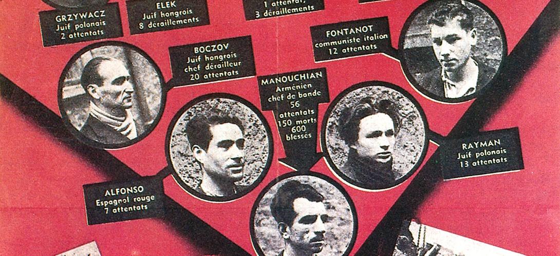 Détail d'une affiche de propagande de l'occupant allemand contre les membres du groupe Manouchian, exécutés au Mont-Valérien le 21 février 1944.