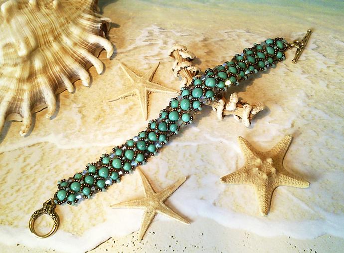 Bracelet tissé Pierre de Turquoise N° 2et Cristal de Swarovski, Fermoir en T Toggle doré