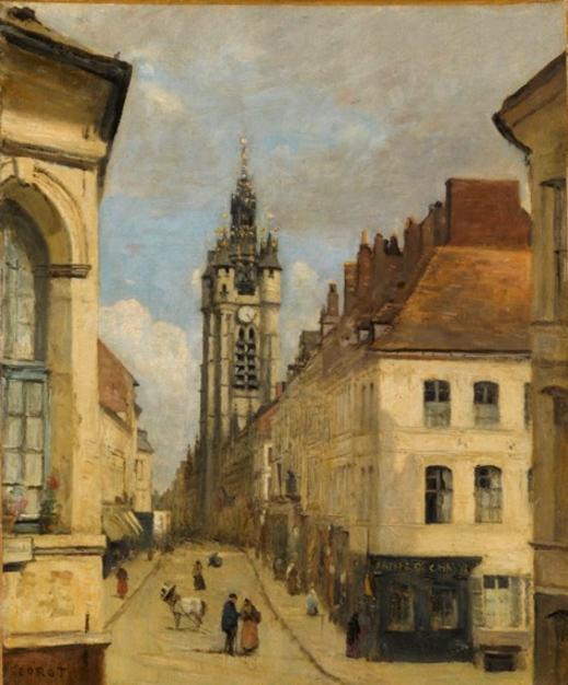 le Beffroi de Douai - 1871 - 40x38cm