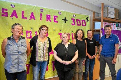 Caroline Guyader, Pascal Jacq, Estelle Tanguy, Catherine Ferrant, Joseph Bonis et Yann Bourriche du bureau Sud Santé du centre hospitalier de Cornouaille.