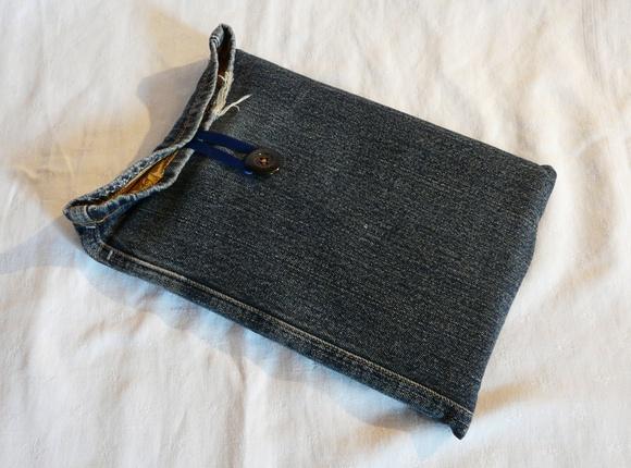 Housse iPad2 en jean's doublée molletonnée #2