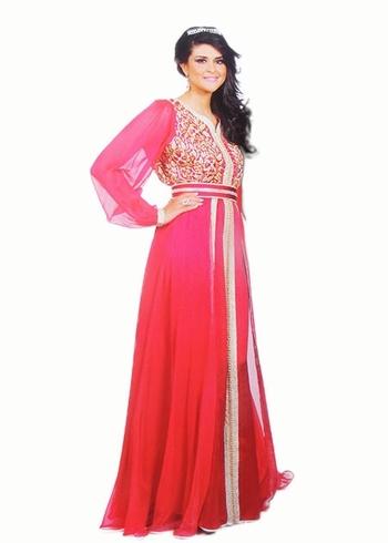 Caftan 2015-rouge-pour votre mariage marocain ou soiree oriental en ligne et sur mesure KAF-S878