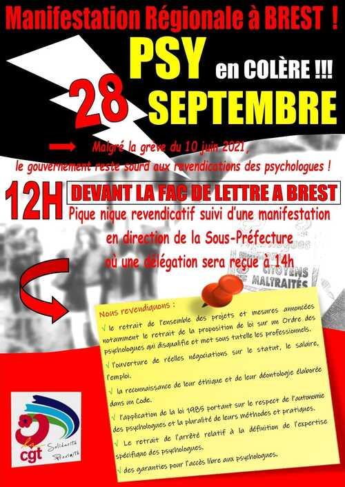 Manifestation régionale à Brest le 28 septembre ; Psy en colère ! ( Fb.com - 16/09/21 )