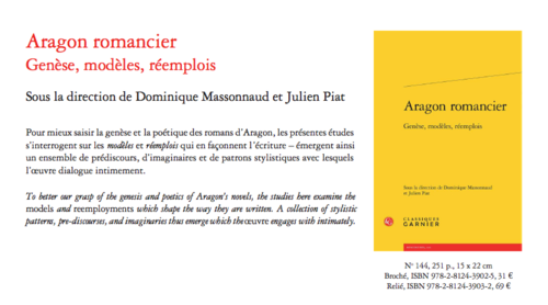 Parution (Actes): Aragon romancier (dir. D.Massonaud et Julien Piat)