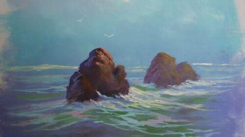 Dessin et peinture - vidéo 1546 : Mer calme, brume et rochers. Peinture à l'huile.