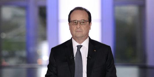"""Le président François Hollande dans """"Dialogue citoyen"""", sur France 2, le 14 avril."""