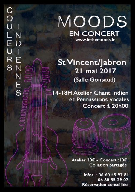 *l'asso Rêves de Chemins organise un après-midi atelier de musique indienne suivie d'un concert le 21 mai -salle Gonsaud - St vincent sur Jabron 20H avec le groupe MOODS.