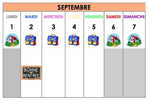 Calendrier annuel cycle 1