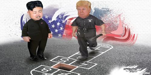 dessin de JERC et Akaku du mercredi 13 juin 2018 caricature Kim Jong-Un et Donald Trump les paix pères nuque les hairs. www.facebook.com/jercdessin @dessingraffjerc