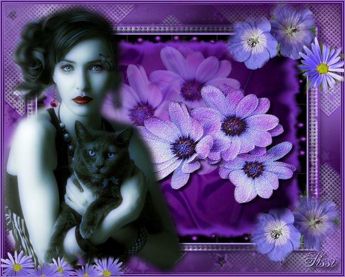 * Dame  et son Chat aux Yeux Bleus*