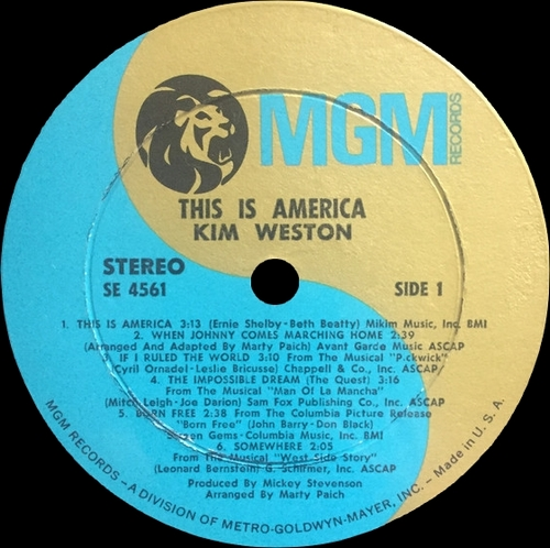 "Kim Weston : Album "" This Is America "" MGM Records ‎SE-4561 [ US ]"