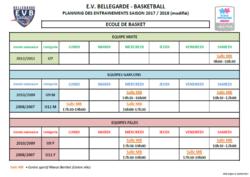 planning entraînement école de minibasket