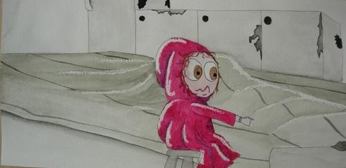Le Petit Chaperin Rouge fut très étonnée de voir comment était sa grand-mère lorsqu'elle était malade... elle lui dit: