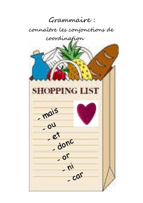 Shopping list en grammaire!