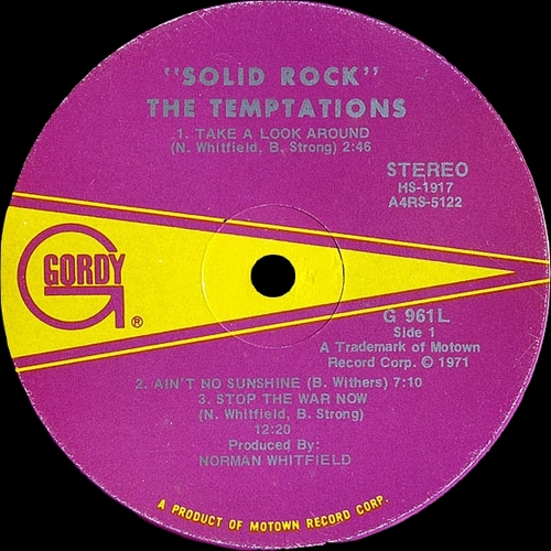 "The Temptations : Album "" Solid Rock "" Gordy Records G-961L [ US ]"