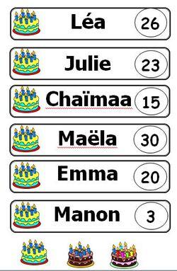 etiquettes anniversaire