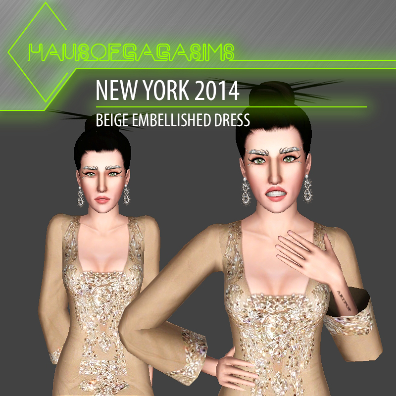 NEW YORK 2014 BEIGE EMBELLISED DRESS